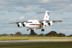 Bae 146. A vip transport aircraft preparing to land Stock Photography