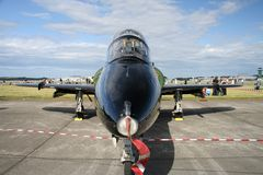 BAE Hawk jet plane. Nose view of British Airforce's Hawk jet plane on display at an airshow Royalty Free Stock Photo