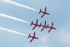 BAe Hawk jets from Red Arrows display team Stock Images