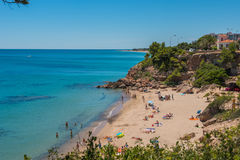 Baech Miami Platja, Catalunya, Spain. Summer time on the coastline, beach Miami Platja, Spain Stock Image