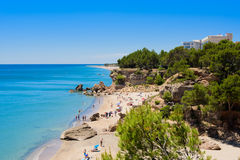 Baech Miami Platja, Catalunya, Spain, 19.06.2016. Summer time on the sandy beach Miami Platja, Spain, 19.06.2016 Royalty Free Stock Photos