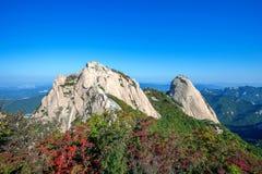 Baegundae峰顶和Bukhansan山在秋天 库存照片