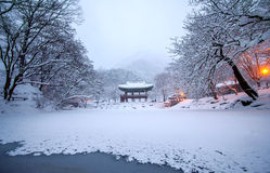 Baekyangsa Temple and falling snow, Naejangsan Mountain in winter with snow. Royalty Free Stock Images