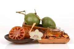 Bael frais et sec, bael de sucrerie et bael de l'eau, fruit de la Thaïlande Images stock