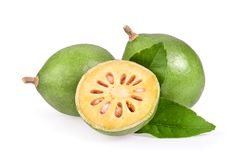 Fresh Bael fruit on white background. Bael fruit on white background royalty free stock photos