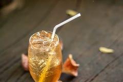 Bael växt- fruktsaft med det pålagda trägolvet för thailändsk växt- is äta royaltyfri fotografi