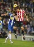 Baena van strijd Espanyol met Llorente Stock Afbeeldingen