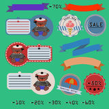 0215_2 baer tags. Discounts tape and stickers with bear a maritime theme Stock Photos