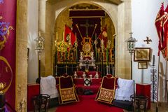 Exhibition of vestments and elements of Holy Week royalty free stock photos