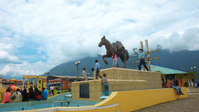 Baeza, Napo / Ecuador - January 16 2016: View of the monument to the peasant in a park in the town of Baeza Stock Image