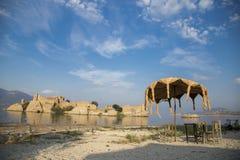 Bafa Lake shore and historical castle ruins, Bafa, Turkey, 2014. Bafa Lake shore and historical castle ruins in Bafa, Turkey, 2014 Royalty Free Stock Images