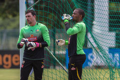 Bafana Bafana Goalkeepers Practice. South Africa's football Soccer team Bafana Bafana practice at Durban's Moses Mabhida stadium outside field . Photo image of Stock Photos