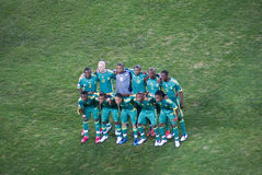 Bafana Bafana - South African National Soccer Team. The South Africa national soccer team lines up for the pre-match photos Stock Images