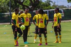 Bafana Bafana spelare klumpa ihop sig Royaltyfria Bilder