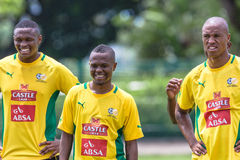 Bafana Bafana Team Happy. South Africas football Soccer team Bafana Bafana practice at Durbans Moses Mabhida stadium outside field . Photo image of team players Stock Photography