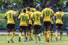 Bafana Bafana Team Work Out. Bafana Bafana football soccer team together training with coaching staff Stock Images