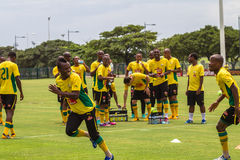 Bafana Bafana Training Laughter. Team happy together with coaching staff before their  match Royalty Free Stock Photos