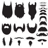 Baffi disegnati a mano e barbe messi Fotografia Stock