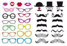 Baffi ed occhiali, insieme di vettore Immagini Stock