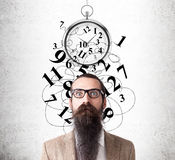 Baffled man and stopwatch sketch Stock Images