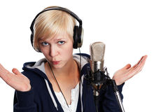 Baffled singer Royalty Free Stock Images