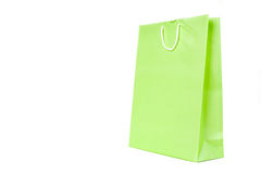 Bag. Green present paper bag on white background royalty free stock photo