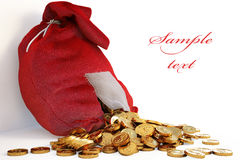 Bag. Pile of gold coins spill out of the red bag with a patch. with clipping path Stock Photos