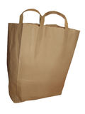 The bag. A plain brown paper bag isolated on a white background Royalty Free Stock Image