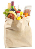 Bag. Paper bag with food on a white background stock image