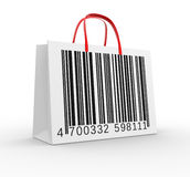 Bag. With barcode. 3d render Stock Images