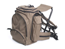 Bag. Brown holyday travel backpack with seat Royalty Free Stock Images