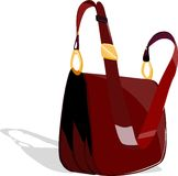 Red Hand Bag. One simple red bag on white background Royalty Free Stock Photography