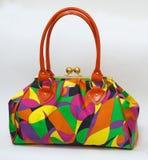 Bag. Colorful handbag with geometrical ornament Royalty Free Stock Photos