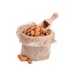 Bag with almonds Stock Photography