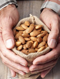 Bag OF Almonds Nuts Royalty Free Stock Image