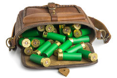 Bag with ammunition lying. On a white background Royalty Free Stock Images