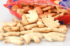 Bag of Animal Cookies. Bag of fresh animal cookies for childrens snack stock photography