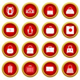 Bag baggage suitcase icon red circle set Royalty Free Stock Image