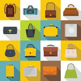 Bag baggage suitcase icons set, flat style Stock Images