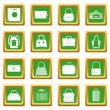 Bag baggage suitcase icons set green Stock Image
