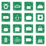 Bag baggage suitcase icons set grunge Royalty Free Stock Photo