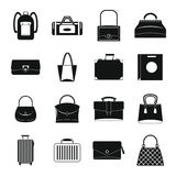 Bag baggage suitcase icons set, simple style Stock Images