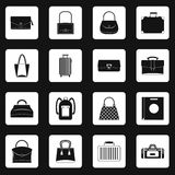 Bag baggage suitcase icons set squares vector Stock Images