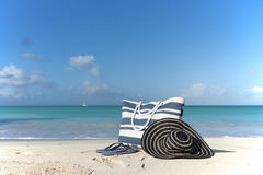 Bag on the beach Royalty Free Stock Photography