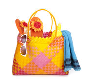 Bag with beach items. Colorful bag with beach items Royalty Free Stock Images
