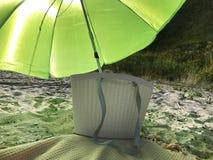 Bag, beach and beach umbrella. Bag, beach, sand and beach umbrella royalty free stock photos