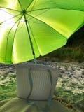 Bag, beach and beach umbrella. Bag, beach, sand and beach umbrella stock photo