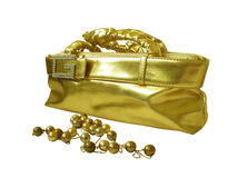 Bag and beads Royalty Free Stock Photo