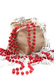 Bag with beads and snowflakes Royalty Free Stock Photography