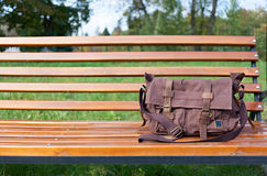 Bag on the bench Royalty Free Stock Photos